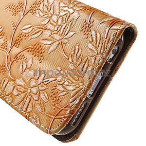 Elegantní květinové peněženkové pouzdro na iPhone 6 a 6s - oranžové - 7