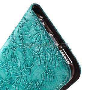 Elegantní květinové peněženkové  pouzdro na iPhone 6 a 6s - tyrkysové - 7