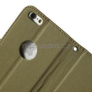 Peněženkové koženkové pouzdro na iPhone 6s a 6 - khaki - 7