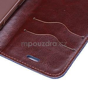Jeans látkové/pu kožené peněženkové pouzdro na iPhone 6 a 6s - tmavě modré - 7