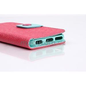 Dvoubarevné peněženkové pouzdro pro iPhone 6 a iPhone 6s - rose/cyan - 7