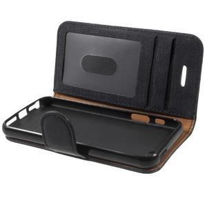 Cloth PU kožené pouzdro na iPhone SE / 5s / 5 - černé - 7