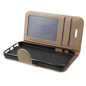 Cloth PU kožené pouzdro na iPhone SE / 5s / 5 - zlaté - 7