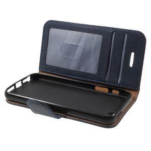 Cloth PU kožené pouzdro na iPhone SE / 5s / 5 - tmavěmodré - 7