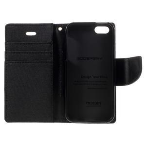 Canvas PU kožené/textilní pouzdro na mobil iPhone SE / 5s / 5 - černé - 7