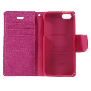 Canvas PU kožené/textilní pouzdro na mobil iPhone SE / 5s / 5 - rose - 7