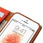 Canvas PU kožené/textilní pouzdro na mobil iPhone SE / 5s / 5 - oranžové - 7/7
