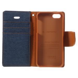 Canvas PU kožené/textilní pouzdro na mobil iPhone SE / 5s / 5 - tmavěmodré - 7