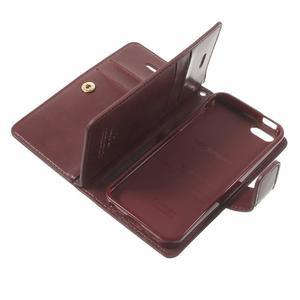 Extrarich PU kožené pouzdro na iPhone SE / 5s / 5 - vínověčervené - 7