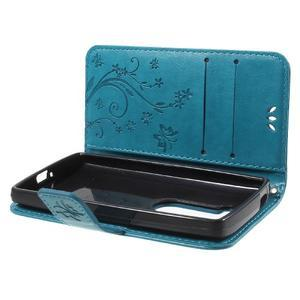 Buttefly PU kožené pouzdro na mobil LG Leon - modré - 7