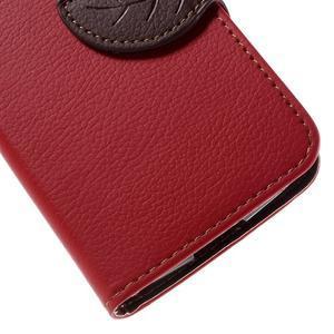 Leaf PU kožené pouzdro na mobil LG Leon - červené - 7