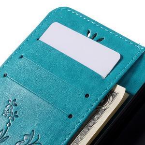 Butterfly PU kožené pouzdro na Microsoft Lumia 640 - modré - 7