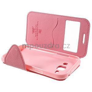 PU kožené pouzdro s okýnkem Samsung Galaxy J1 - rose/růžové - 7