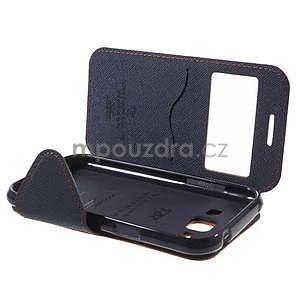 PU kožené pouzdro s okýnkem Samsung Galaxy J1 - oranžové/tmavě modré - 7