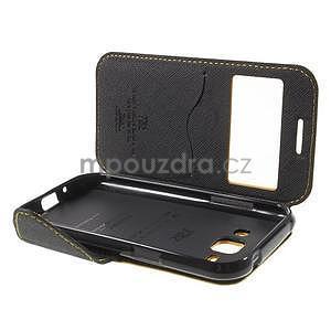 PU kožené pouzdro s okýnkem Samsung Galaxy J1 - žluté/černé - 7