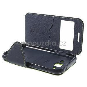 PU kožené pouzdro s okýnkem Samsung Galaxy J1 - zelené/tmavě modré - 7