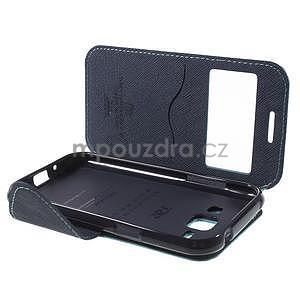 PU kožené pouzdro s okýnkem Samsung Galaxy J1 - světle modré/tmavě modré - 7
