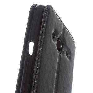 Peněženkové PU kožené pouzdro s okýnkem na Samsung Galaxy J3 (2016) - černé - 7