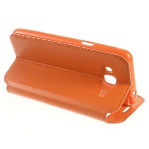 Peněženkové PU kožené pouzdro s okýnkem na Samsung Galaxy J3 (2016) - oranžové - 7