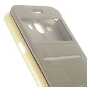 Peněženkové PU kožené pouzdro s okýnkem na Samsung Galaxy J3 (2016) - zlaté - 7