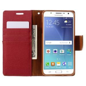 Canvas PU kožené/textilní pouzdro na Samsung Galaxy J5 (2016) - červené - 7