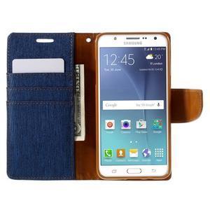Canvas PU kožené/textilní pouzdro na Samsung Galaxy J5 (2016) - modré - 7