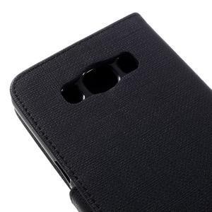 Cloth PU kožené pouzdro na Samsung Galaxy J5 (2016) - černé - 7