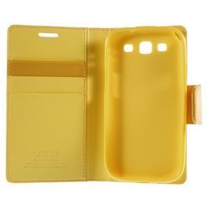 Diary PU kožené pouzdro na mobil Samsung Galaxy S3 - žluté - 7