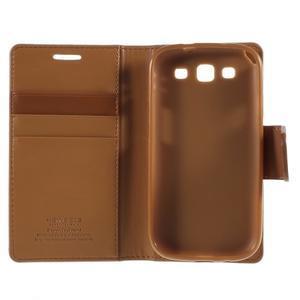 Diary PU kožené pouzdro na mobil Samsung Galaxy S3 - hnědé - 7
