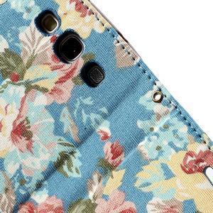 Květinové pouzdro na mobil Samsung Galaxy S3 - modré pozadí - 7