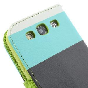 Tricolors PU kožené pouzdro na mobil Samsung Galaxy S3 - černý střed - 7