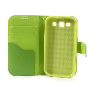 Tricolors PU kožené pouzdro na mobil Samsung Galaxy S3 - zelený střed - 7