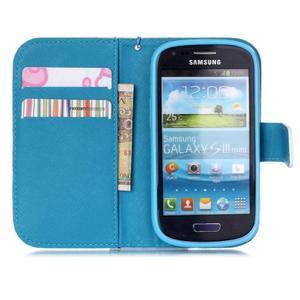 Knížkové PU kožené pouzdro na Samsung Galaxy S3 mini - barevné květy - 7