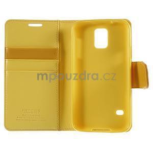 Elegantní peněženkové pouzdro na Samsung Galaxy S5 - žluté - 7