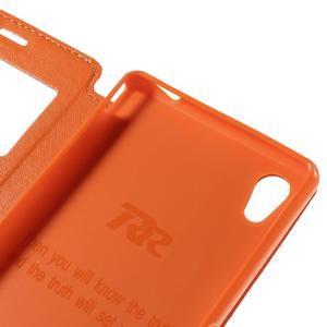 Okýnkové PU kožené pouzdro na Sony Xperia M4 Aqua - oranžové - 7