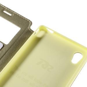 Okýnkové PU kožené pouzdro na Sony Xperia M4 Aqua - zlaté - 7