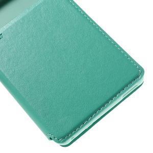 Okýnkové PU kožené pouzdro na Sony Xperia M4 Aqua - azurové - 7