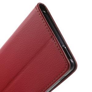 Leaf PU kožené pouzdro na mobil Sony Xperia M4 Aqua - červené - 7
