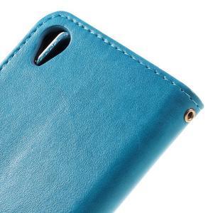 Butterfly PU kožené pouzdro na Sony Xperia X - modré - 7