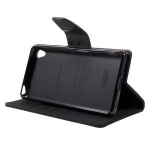 Canvas PU kožené/textilní pouzdro na mobil Sony Xperia XA - černé - 7