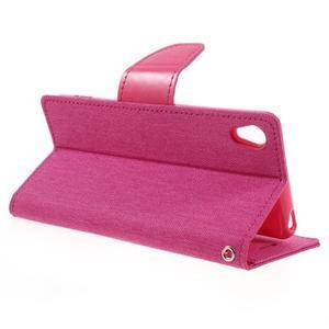 Canvas PU kožené/textilní pouzdro na mobil Sony Xperia XA - rose - 7