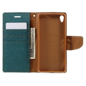 Canvas PU kožené/textilní pouzdro na mobil Sony Xperia XA - zelenomodré - 7