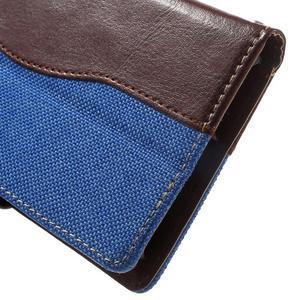 Jeansy PU kožené/textilní pouzdro na Sony Xperia XA - modré - 7