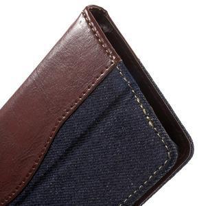 Jeansy PU kožené/textilní pouzdro na Sony Xperia XA - tmavěmodré - 7