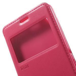 Royal PU kožené pouzdro s okýnkem na Sony Xperia XA - rose - 7