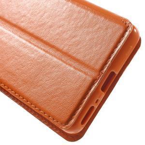 Royal PU kožené pouzdro s okýnkem na Sony Xperia XA - oranžové - 7