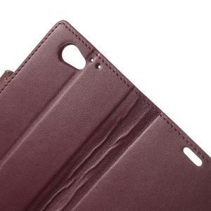 Sonata PU kožené pouzdro na mobil Sony Xperia Z1 Compact - vínové - 7
