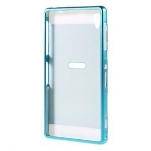 Kovový kryt s plastovými zády na Sony Xperia Z1 - modrý - 7