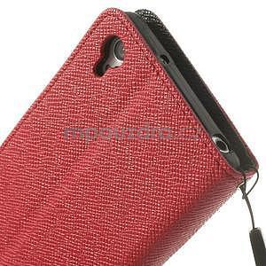 Stylové peněženkové pouzdro na Sony Xperia Z2 - červené/černé - 7