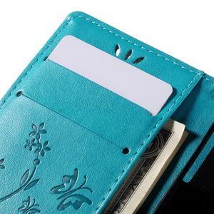 Butterfly PU kožené pouzdro na mobil Sony Xperia Z3 Compact - modré - 7